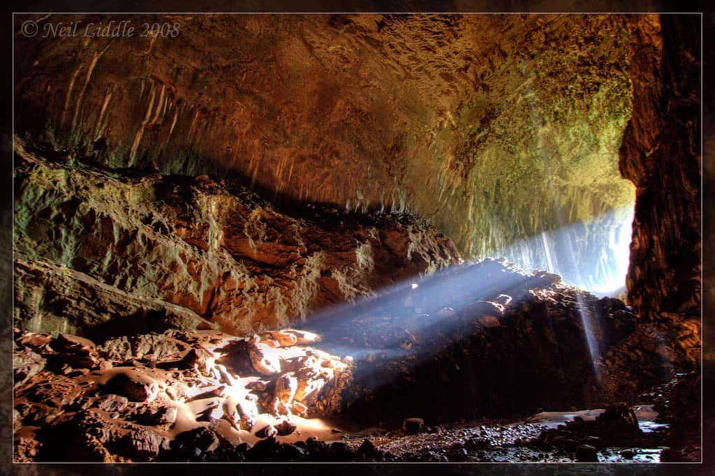 Ray of light falling into Deer Cave