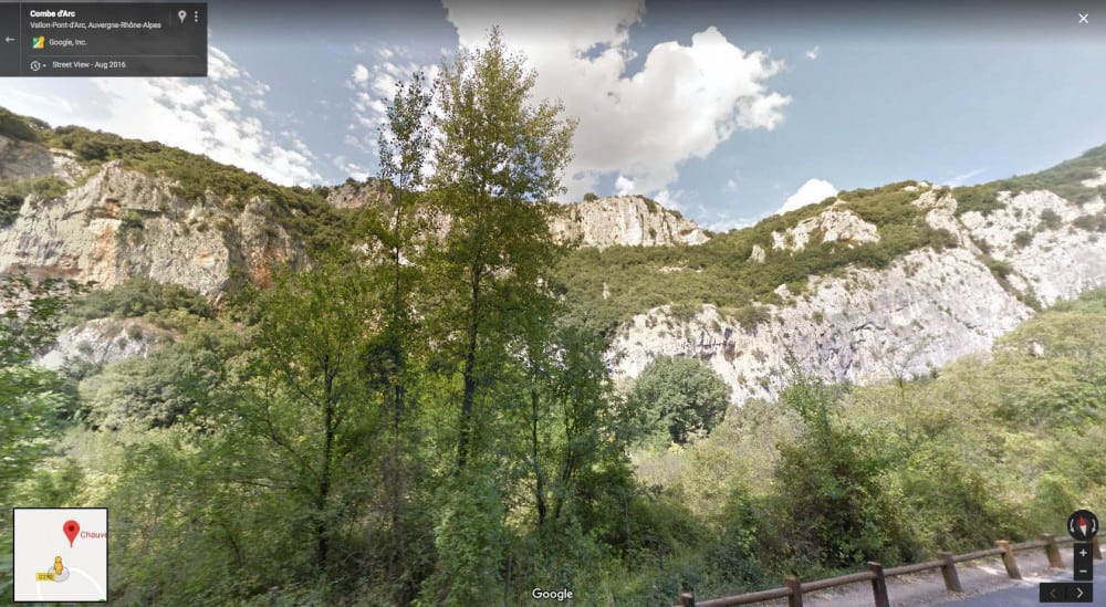 Streetview image of heavy erosion on mountain range