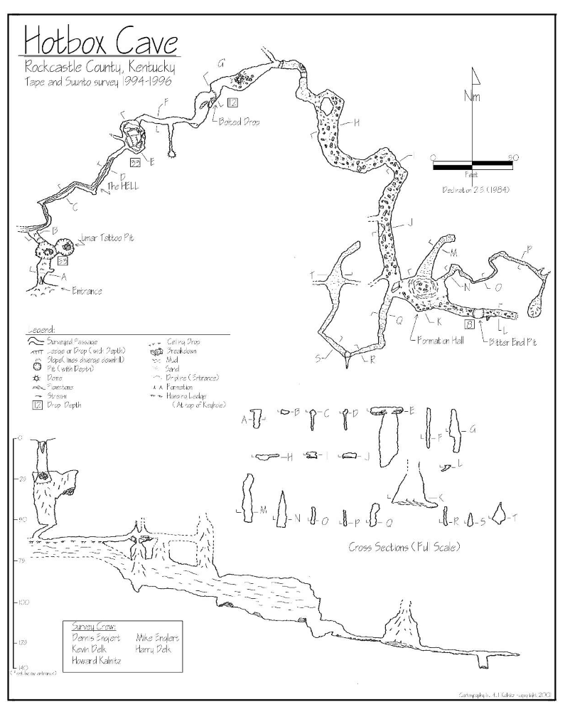 Map of Hotbox Cave, Kentucky, US