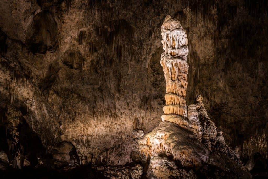 Stalactites hang from the cave roof inside Carlsbad Caverns
